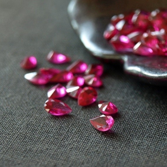 Cubic Zirconia Ruby CZ Pink Pear Loose Faceted Stone 5mm 10 pieces
