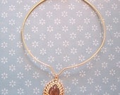 Golden Tear Drop necklace amber cabochon Sarah Coventry