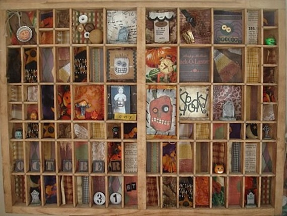 Altered Antique Printers Drawer Vintage Style Halloween