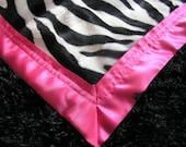 Zebra Print and Black Furry Fleece with Hot Pink Satin Binding- Luxury Baby Blanket