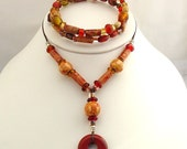 RESERVED for KDANFORD On SALE Red Jasper Baby Friendly Beads Nursing Necklace and Reminder Bracelet Set
