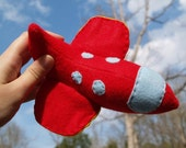 Red Plush jet plane SOFT TOY for kids made to order
