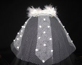 Custom white dotted veil for HELLORENEE