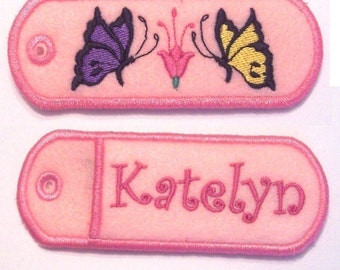 Embroidered double sided lip balm, chapstick, USB, or lighter holder keychain