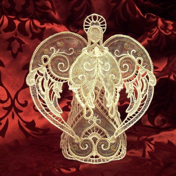 Items Similar To Embroidered 3d Lace Angel Tree Topper Or