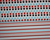 SALE Heather Ross Lightning Bugs Blue\/Red\/Black Stripe and Dot half yard set, 1\/2 yd each