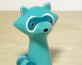 Teal Blue Raccoon Handmade Figurine
