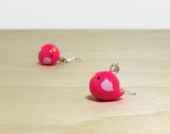 Hot Pink Bitty Bird Earrings