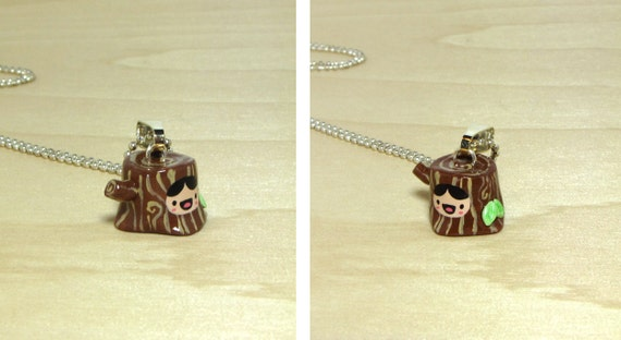 Happy Tree Stump Necklace