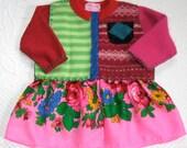 MARIKA Baby  Wool Coat / baby folk dress . Dress made from Recycled Sweaters 402