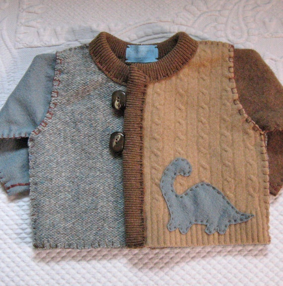 Felted Baby Cardigan KARL 420 made from recycled wool sweaters RESERVED