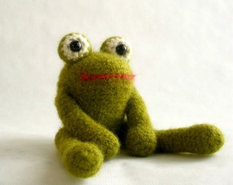 Felted Crochet Frog - Wooly Bully Plush Toy