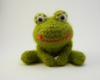 Felted Wool Crochet Frog Small