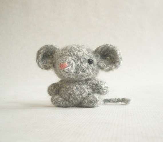 Bitty Mouse Felted Crochet Toy