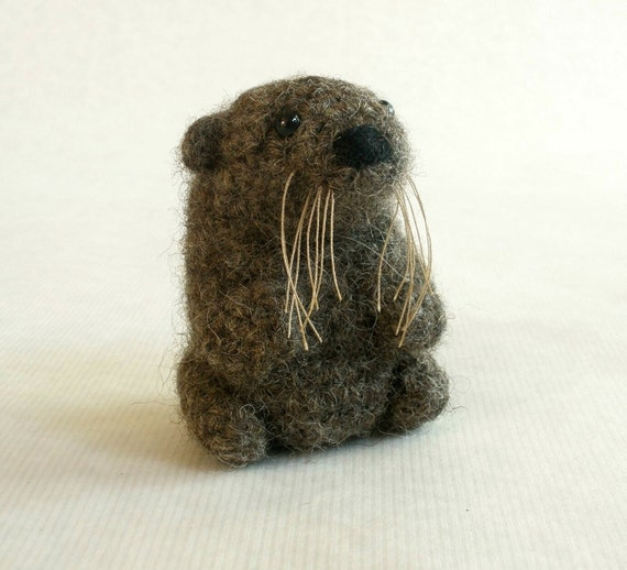 Felted Wool Otter - Mini Crochet Plush Toy