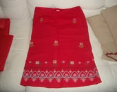 RESERVED for lisa vtg Sleeping on Snow skirt anthropologie cherry red floral embroidered navajo beauty