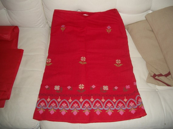 RESERVED Vintage Sleeping on Snow skirt anthropologie cherry red floral embroidered navajo beauty