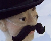 Handlebar Mustache Disguise  - Black Felt with Black Embroidered Details