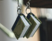 Wee Book Earrings (green & blue)