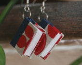 Wee Book Earrings (red, white & blue)