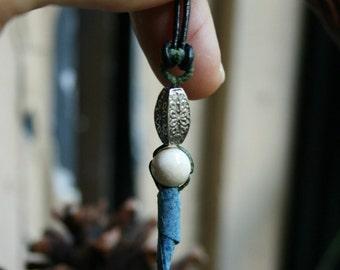 Handmade paper & White Jasper bead pendant