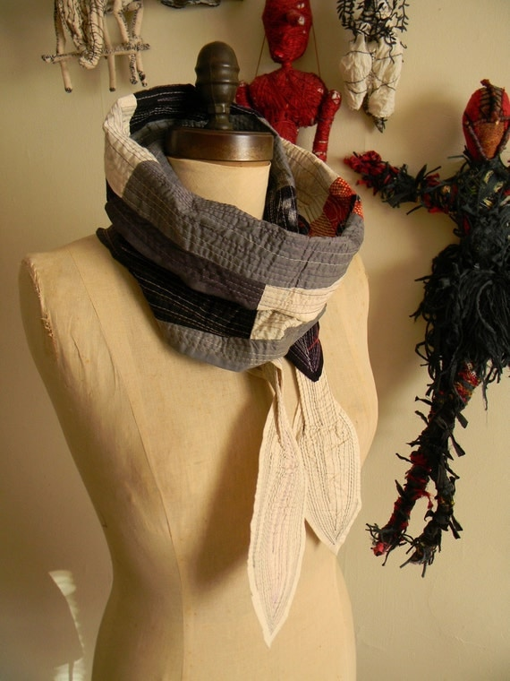 On Sale stitch covered patchwork kelp scarf