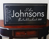 Large 11X26 CUSTOM Personalized Family Established Sign for Housewarming Wedding or Engagement