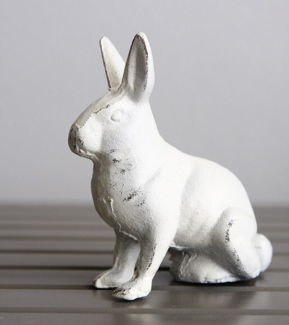 Cast Iron Metal Bunny Rabbit Paperweight or Small Bookend Shabby White