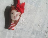 Imaginary Friend stuffed Art Doll necklace red striped