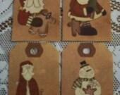 Country or Primitive Santa Gift Hang Tags