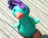 Greenlee- a wacky little bird  - a polymer clay creation by Sooz