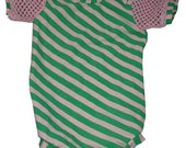 Sale New Born Punkns original pink and green striped onesie with fishnet