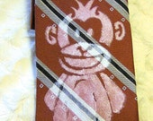 Graffiti Art Successful Business Monkey on Vintage Red Tie with Black and Grey Diagonal Stripes by Oakton Limited - Full Size - Gals or Guys