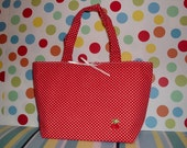 Small Polkadot Tote Bag with Cherry Applique