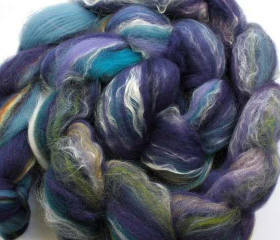 SALE -- Hand carded roving (2.8 oz.) merino, silk, bamboo, and alpaca  039