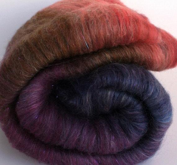 Fig Rolly Batt -- 3 oz. per batt -- merino, tussah silk, baby suri alpaca, yak, sparkle