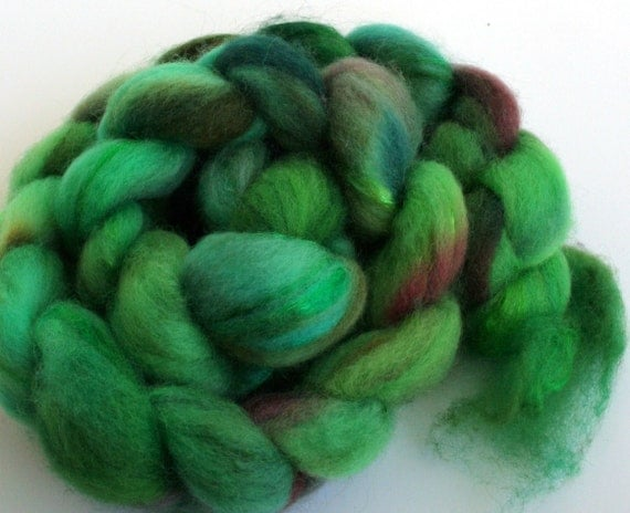 Emerald -- dyed BFL firestar top / roving (2.9 oz.)