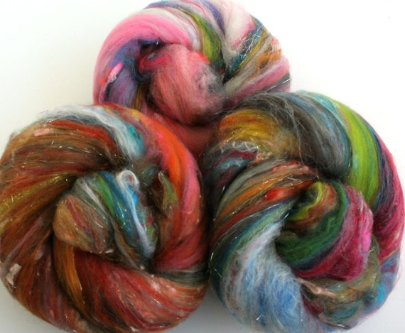 Garden compost  -- small art batts (3.3 oz.) merino wool, etc.  106
