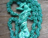 On Hold for Rose Mint Polymer Clay Seahorse and Beaded Spiral Necklace