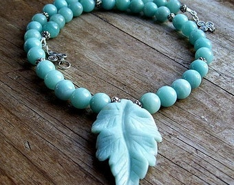 Blue Green Amazonite Stone Necklace with Leaf Pendant