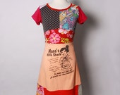 Size 11 yrs up to 12 yrs or womens petite size 4 to 6 upcycled t-shirt dress milk shake