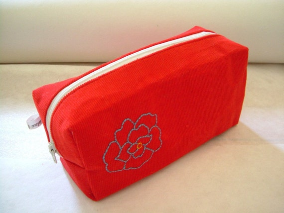 SALE Red Corduroy Hand Embroidered Cosmetic Pencil Bag