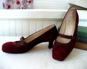 Vintage Maroon Suede Louboutin Shoes Sz. 7 1/2