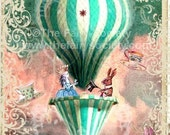 Pink N Green Alice Hot Air Ballon Fabric Block  5 x 7