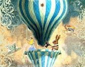 Alice In Wonderland Tea Party In The Sky Fabric Block