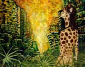 RW2 HUGE Original Oil Painting Giraffe Environmental Surrealism Green Endangered  Surrael end of the world 2012 african
