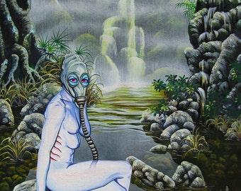 RW2 Original painting surreal gas mask lowbrow outsider art fantasy environmental post Apocalyptic 2012
