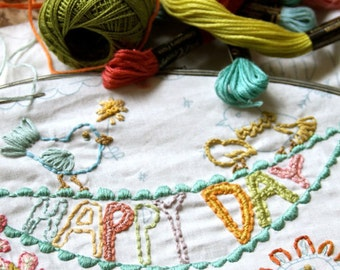 Happy Day Embroidery Pattern PDF