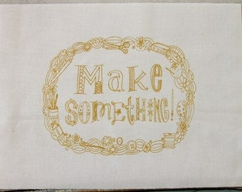 embroidery pattern on fabric, Make Something, retro golden color