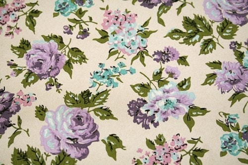 Vintage Wallpaper Half Roll Purple Floral